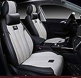 Autositzkissen aus Leder, 5 Sitze, kompletter Satz - rutschfestes Wildleder-Basismaterial Autositzbezug aus doppeltem Stoff und Leder für Autositz,A