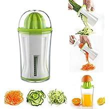 Cortador en espiral cortador de verduras con exprimidor de mano, vegetales verduras Pasta Noodle Spaghetti Veggie eléctrica incluyendo: limpia cepillos y pelador