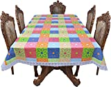Casa Furnishing 6 Seater Pvc Table Cover; Printed Floral; 60X90 Inches Dining Table Cover 6 Seater Fabric-7[Green Base Gold Flower]