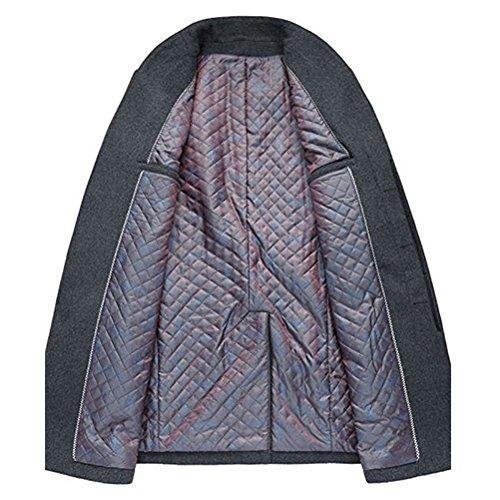 Miagolio Uomo Signori Sottile Caloroso Cappotto Blazer Invernale Di Lana(XS-XL) #1 Nero
