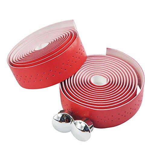 UPANBIKE Fahrrad Lenkerbänder Fahrrad lenkerband mit Stomata Kunstleder Wraps für Rennräder und Fahrräder(Rot,2 Teile/Satz)