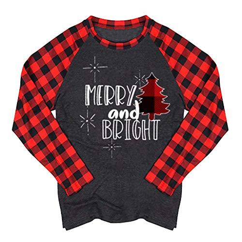 Xmiral Bluse Tops Damen Kariertes Ärmel Spleiß Weihnachten Drucken Langarm Rundhals T-Shirt Camping Outdoor Sweatshirts Pullover (A Dunkelgrau,XL)