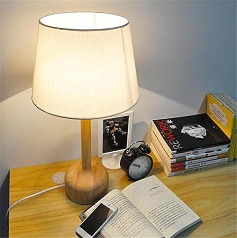 Lampe de bureau Chambre à coucher Salon Chambre à coucher Minimaliste moderne Lampe de table design en bois naturel avec lampe en tissu à la main et antistatique en coton