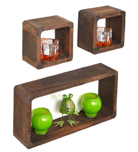 Ts-ideen - set di 3 mensole in legno massiccio, stile retrò naturale, colore: marrone scuro