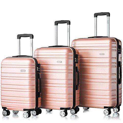 Flieks Hartschale Trolley Koffer Reisekoffer Zwillingsrollen Reisekoffer mit Zahlenschloss Handgepäck mit (Pink, Set)
