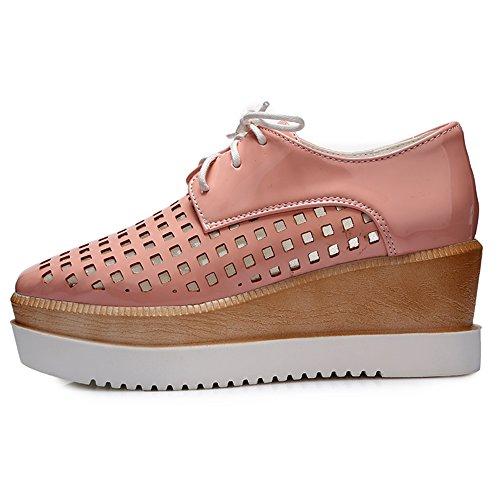 Damen Geschlossene Toe Pumps High Heels Keilabsatz Schnürschuhe Breathable Pink