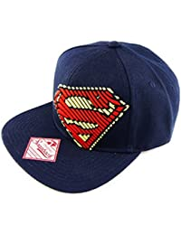 Dc Comics SUPERMAN Flat Cap 6 Panel Snapback MAN OF STEEL STRIPLOGO navy