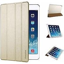 iPad Air 2 Hülle, EasyAcc Ultra Slim iPad Air 2 Hülle Case Cover Schutzhülle Bumper Lederhülle Flip mit Standfunktion / Auto Sleep Wake up für iPad Air 2 / iPad 6 (Modell Number A1566/ A1567) -Gold, Ultra Slim