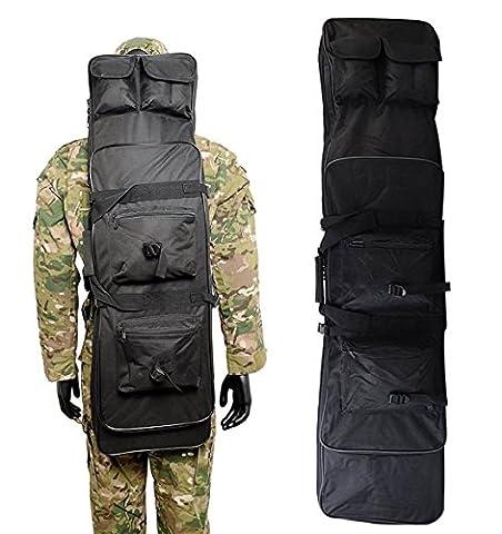 Airsson Pistolet Fusil tactique étui housse pour fusil double sac à dos de rangement avec sangle d'épaule pochette pour Magazine en nylon imperméable, noir, 120 cm/48