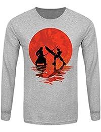 T-Shirt à manches longues Cloud vs Sephiroth Homme Gris
