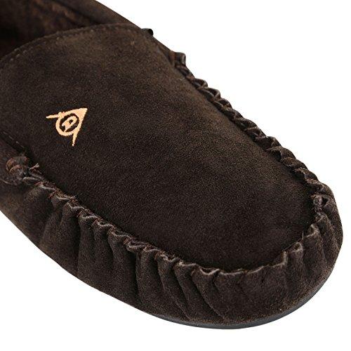 Herren Dunlop Leder Hausschuhe Echt Wildleder warmes Fell Slip auf Loafer Mokassins Schuhe Schokolade