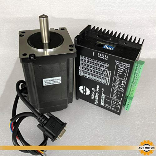 ACT MOTOR GmbH 1PC Nema34 Step-Servo Motor 34SSM1460-EC1000 6A 9Nm Closed-Loop+1PC HBS86H Closed Loop Stepper Driver CNC (Motor-servo-cnc)