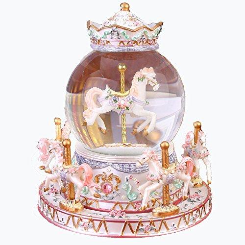 OOFYHOME Caja de música de carrusel Caja de música de bola de cristal Regalo de cumpleaños de niña rosa