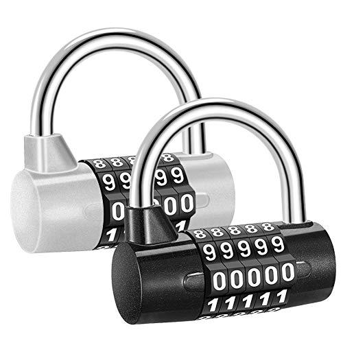 Sukudon 2 pcs Candado de combinación 5 dígitos Candado de Seguridad
