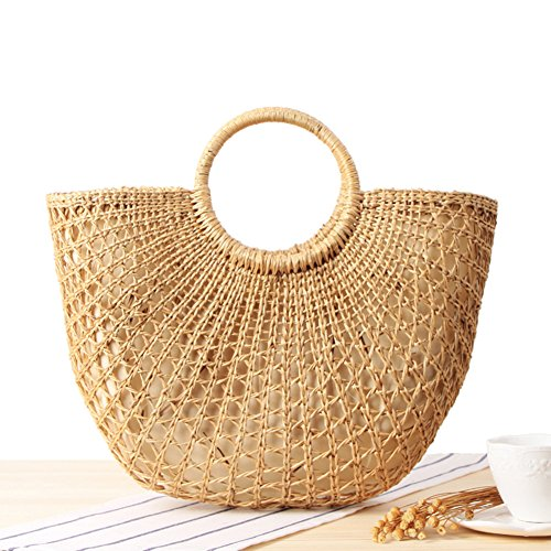 Gorgebuy Paja trenzada al aire libre bolsa de playa Recorte de hierba amarilla Manija redonda tejida a mano Retro gran bolso de playa informal de verano