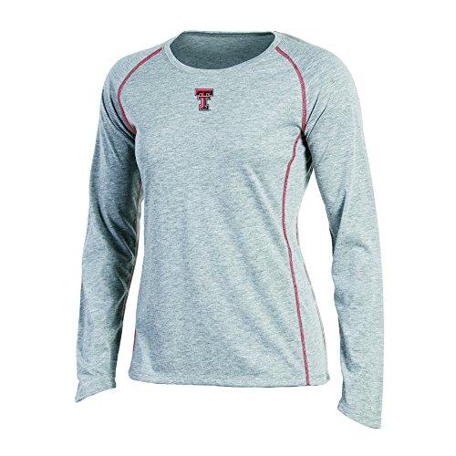 NCAA Champion Damen Raglan-T-Shirt, langärmelig, Rundhalsausschnitt, Texas-Tech Red Raiders, XS, Grau-Heather -