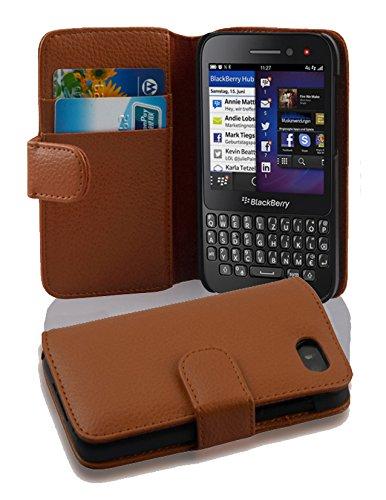 Cadorabo Hülle für Blackberry Q5 - Hülle in COGNAC BRAUN – Handyhülle mit Kartenfach aus struktriertem Kunstleder - Case Cover Schutzhülle Etui Tasche Book Klapp Style