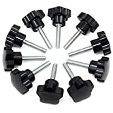 Hseamall 10PCS M8x40 Manopola di serraggio del filo Manopola in plastica nera Maniglia a forma di stella sul pomello per macchina utensile
