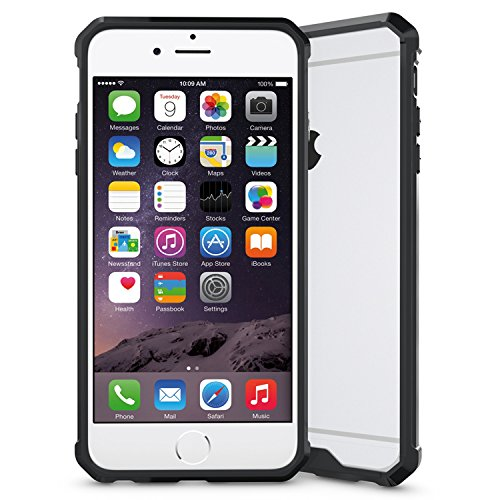 iPhone 7 Case,SOUNDMAE Armor Transparent Clear TPU Frame Shockproof Protective Case Scratch Resistant Ultra-Thin and Slim PC Hard Panel for iPhone 7 -- Black Black
