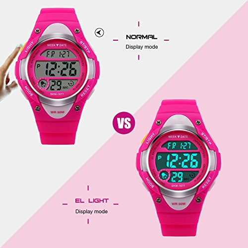 Digital Uhren für Mädchen Geschenke - Kinder Outdoor Sportuhren mit LED, 5 ATM Wasserdicht Sport Elektronische Handgelenk Digitaluhren mit Wecker Woche für Teenagers Rose by RSVOM