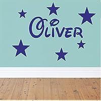 Personalised Name Stars Wall Art Boys or Girls Room Childrens Kids Sticker Vinyl (Blue)