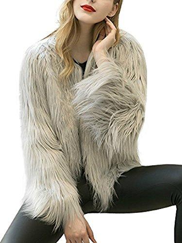 CRAVOG Pelz Mantel Damen Kunstpelz Flauschiges Outwear Parka Fur Jacke Winter Short Gray