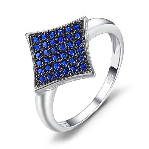 JewelryPalace Fashion 0.3ct Round Erstellt Blau Spinell Cocktail Jubiläum Ring 925 Sterling Silber - Cocktail Am Abend
