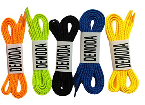 Demoda Flat Shoelaces(Pack of 5-Orange,Neon green,Black,Blue,Yellow)