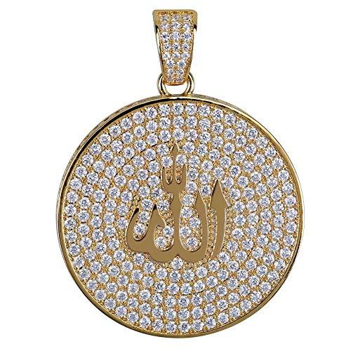 ANLW Herren Halskette Religiöse Jüdische Kultur Symbol Vintage Anhänger Schmuck Voller Zirkon Anhänger Design,Gold (Kreuz Jüdische)