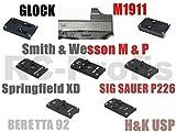 VECTOR OPTICS Adapter Montageplatte für DOCTER Sight C / II / III , VECTOR Sphinx , Meopta Meosight, auf Glock, M1911, Springfield XD, HK USP, Smith & Wesson MP, SIG P226, Beretta 92 (M1911)