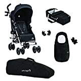 Baby Jogger Vue Buggy/Soft Kinderwagen und Full Accessory Bundle, Schwarz