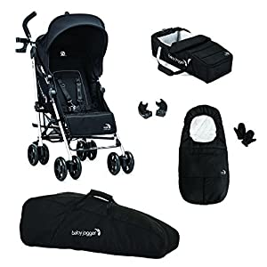 Baby Jogger Vue Stroller/Soft Pram And Full Accessory Bundle, Black Out 'n' About A true all-terrain jogger, fixed 3-Wheel pushchair, suitable for use from Birth to 4 years (approx) Ideal for off-road conditions and to use whilst jogging Latest V4 Model has auto-lock fold, height adjustable handles & handle bar mounted brake lever 5