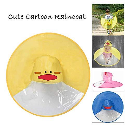 �◕.Regenmantel,Kind Regenjacke Netter Regenmantel für Männer und Junge Mädchen,Pinguin-Muster UFO Headwear Regenschirm Hut Poncho Regencape Regenkleidung,Leichte Faltbare (Gelb) ()