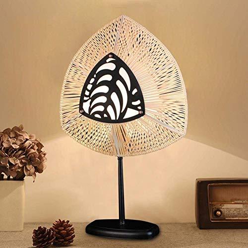 Lamps LED Wohnzimmer, Schlafzimmer Licht, Rattan Nachttischlampe Mond Lampe, handgemachte Shell und Bambus Nachttisch oder Tischlampe, einfache atmosphärische Innenbeleuchtung -