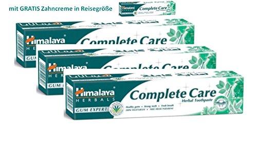 Himalaya Herbals Kräuter-Zahncreme Complete Care 3 x 75 ml mit gratis Zahncreme in Reisegröße