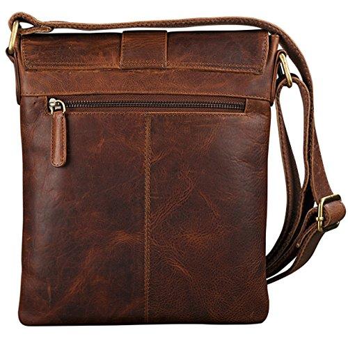 STILORD Borsa a tracolla Uomo Vintage Design Messenger Bag classico in vera pelle antico, Colore:nero kara - marrone