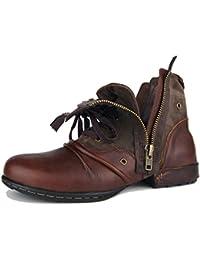 Botas para Moto Botines Hombre Invierno Zapatos Nieve Piel Forradas Calientes Planas Combate Militares Martin Boots OZ-5008-8