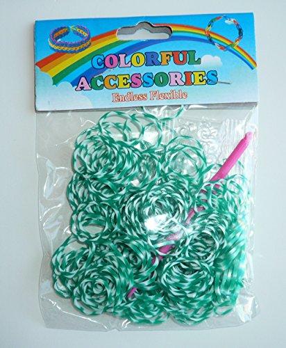Sachet de 200 élastiques col. Vert et blanc pour bracelet + attaches + 1 crochet