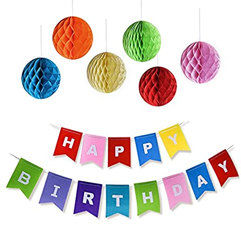 Kuuqa Happy Birthday Party Banners Garlands with 6 Pack Honeycomb Balls, Birthday Party Decorations Favors