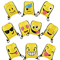 Emoji Party Bags Drawstring Backpacks 10pcs, Kids Birthday Party Give Aways Supplies for Boys Girls, Smiley String PE Beach Swim Bags for Children