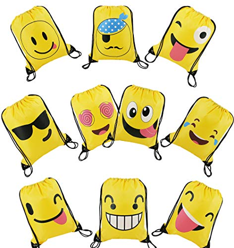 Mitgebsel Kindergeburtstag Emoji Turnbeutel Gastgeschenke Beutel 10 Stück Geschenktüte für Jungen Mädchen, Mitbringsel Geschenktaschen Smiley Geburtstagsfeier Partytüten