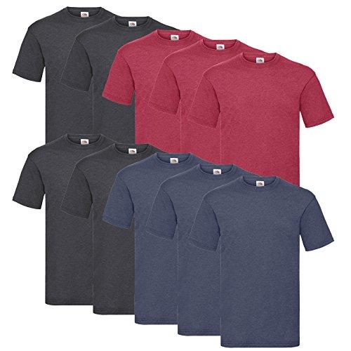 10 Fruit of the loom T Shirts Valueweight S M L XL XXL 3XL 4XL 5XL Übergröße Diverse Farbsets auswählbar (L, 4 Dark H.Grey / 3 Vintage H.Red / 3 Vintage H.Navy)