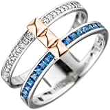 Ring Damen 14 Karat (585) Rotgold Weißgold mit Rotgold kombiniert Saphir 1 22 Diamant null 58 (18.5)