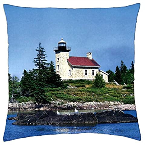 Copper Harbor Lighthouse 2 - Throw Pillow Cover Case (18