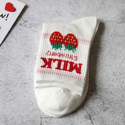 KDBWDDP Socken Cotton Women Crew Socks Mädchen Milk Letter Socken Cute Strawberry Print SocksStrawberry White - Crew Print Crew Socks