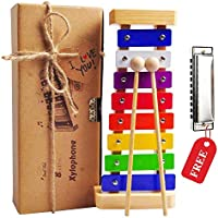 Kids Xylophone, Wooden Musical Toy for Kids Ages 3 and up. Glockenspiel Percussion Musical Instrument with Harmonica, Musical Sheets and Child-Safe Wooden Mallets
