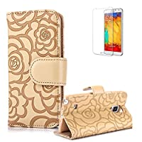 For Samsung Galaxy Note 4 Case Cover [with Free Screen Protector], Funyye Elegant Premium Folio PU Leather Wallet Magnetic Flip Cover with [snap fastener] and [Credit Card Holder Slots] Stand Function Book Type Stylish Rose Printting Designs Full Protection Holster Case Cover Skin Shell for Samsung