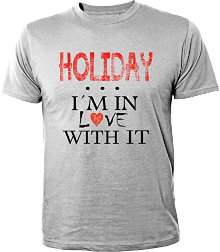 Mister Merchandise Herren Men T-Shirt Holiday - I´m in love Tee Shirt bedruckt Grau