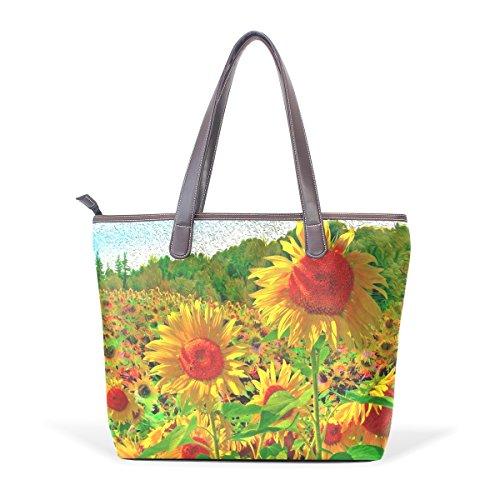 Coosun Sonnenblume Malerei PU Leder Schulter Tote Handtasche für Frauen Mädchen - Brown Palm Leaf