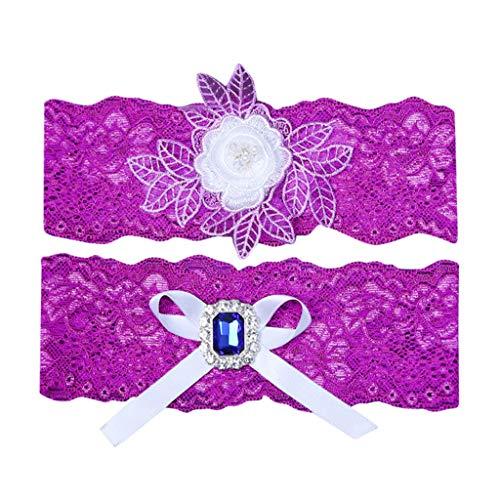 Deloito Damen Elegant Hochzeit Strumpfbänder für Braut Spitze Bestickt Strumpfband Set mit Blue Strass Oberschenkel Band Anti-Chafing Anti-Rutsch (Pink) - Braut Besticktes Bustier